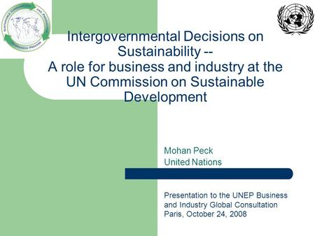 Intergovernmental Decisions on Sustainability -- A role for business and industry at the UN Commission on Sustainable Development Mohan Peck United Nations.