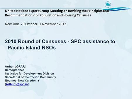 United Nations Expert Group Meeting on Revising the Principles and Recommendations for Population and Housing Censuses New York, 29 October- 1 November.