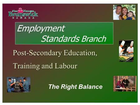 Post-Secondary Education, Training and Labour The Right Balance Employment Standards Branch.