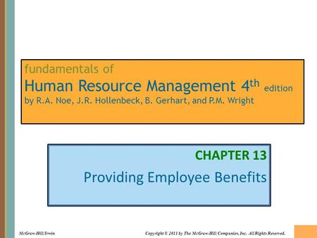 CHAPTER 13 Providing Employee Benefits