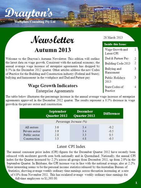 Newsletter 18 January 2013 Inside this Issue: Building Code