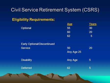 Civil Service Retirement System (CSRS) Eligibility Requirements: AgeYears Optional5530 6020 62 5 Early Optional/Discontinued Service5020 Any Age25 DisabilityAny.