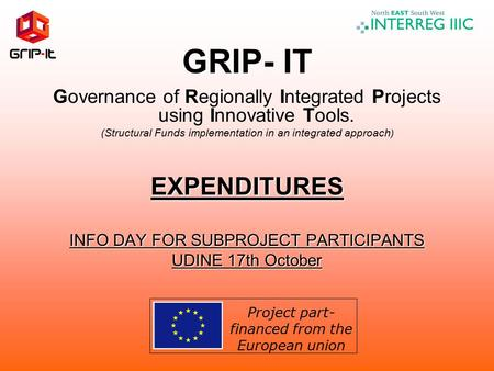 GRIP- IT Governance of Regionally Integrated Projects using Innovative Tools. (Structural Funds implementation in an integrated approach )EXPENDITURES.