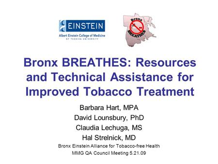 Bronx BREATHES: Resources and Technical Assistance for Improved Tobacco Treatment Barbara Hart, MPA David Lounsbury, PhD Claudia Lechuga, MS Hal Strelnick,
