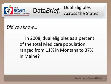 DataBrief: Did you know… DataBrief Series ● February 2011 ● No. 12 Dual Eligibles Across the States In 2008, dual eligibles as a percent of the total Medicare.