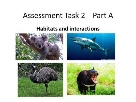 Assessment Task 2 Part A Habitats and interactions.