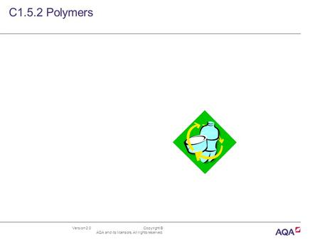 Version 2.0 Copyright © AQA and its licensors. All rights reserved. C1.5.2 Polymers.