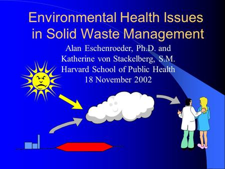 Environmental Health Issues in Solid Waste Management Alan Eschenroeder, Ph.D. and Katherine von Stackelberg, S.M. Harvard School of Public Health 18 November.