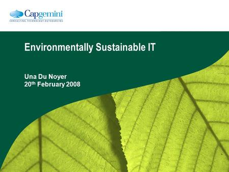 Environmentally Sustainable IT Una Du Noyer 20 th February 2008.