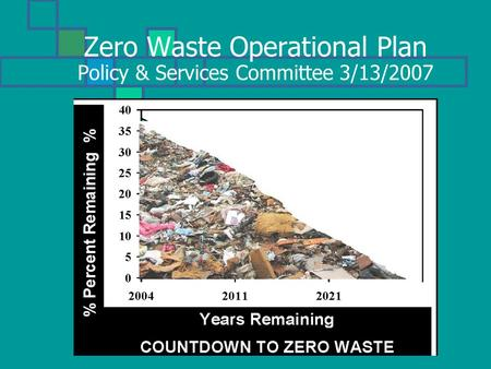 Zero Waste Operational Plan Policy & Services Committee 3/13/2007.