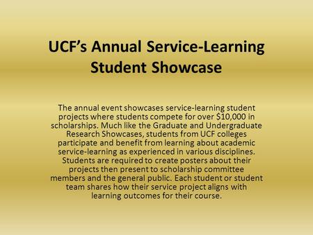 UCF's Annual Service-Learning <strong>Student</strong> Showcase