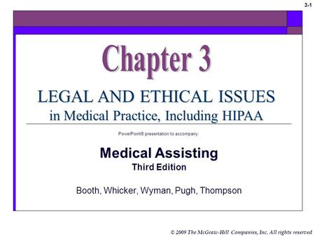 © 2009 The McGraw-Hill Companies, Inc. All rights reserved 3-1 LEGAL AND ETHICAL ISSUES in Medical Practice, Including HIPAA PowerPoint® presentation.
