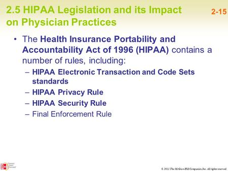 © 2011 The McGraw-Hill Companies, Inc. All rights reserved. 2.5 HIPAA Legislation and its Impact on Physician Practices 2-15 The Health Insurance Portability.