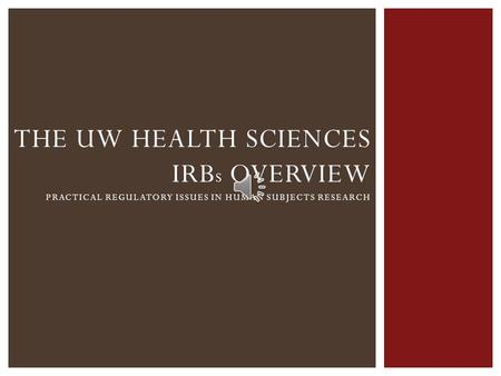 THE UW HEALTH SCIENCES IRB S OVERVIEW PRACTICAL REGULATORY ISSUES IN HUMAN SUBJECTS RESEARCH.