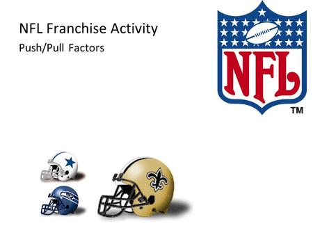 NFL Franchise Activity Push/Pull Factors. 1920 NFL Franchises Akron Professionals Buffalo All-Americans Canton Bulldogs Chicago Cardinals Chicago Tigers.