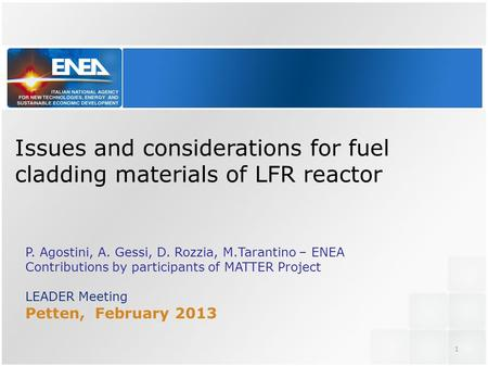 Issues and considerations for fuel cladding materials of LFR reactor P. Agostini, A. Gessi, D. Rozzia, M.Tarantino – ENEA Contributions by participants.