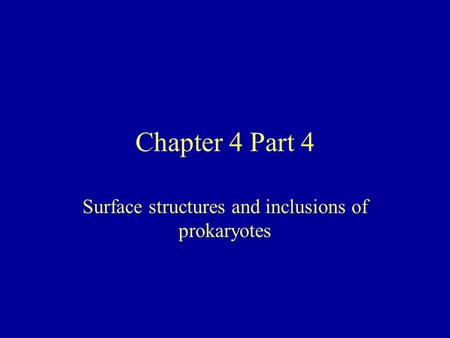 Surface structures and inclusions of prokaryotes