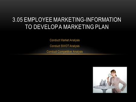 3.05 Employee Marketing-information to develop a marketing plan