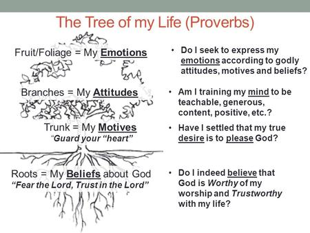 "Roots = My Beliefs about God ""Fear the Lord, Trust in the Lord"" Trunk = My Motives ""Guard your ""heart"" Branches = My Attitudes Fruit/Foliage = My Emotions."