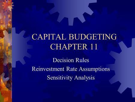 capital budgeting and investment decisions The capital investment decisions can also be termed as capital budgeting in finance the purpose of the capital investment decisions includes allocation of the firm' s capital funds most effectively in order to ensure the best return possible.