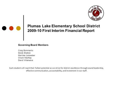 Plumas Lake Elementary School District 2009-10 First Interim Financial Report Governing Board Members Craig Bommarito Derek Bratton Merrilee Leinweber.