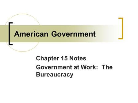 Chapter 15 Notes Government at Work: The Bureaucracy