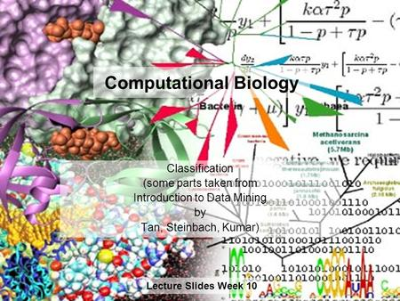 Computational Biology Lecture Slides Week 10 Classification (some parts taken from Introduction to Data Mining by Tan, Steinbach, Kumar)