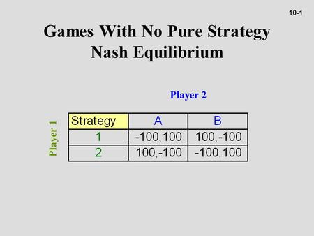 Games With No Pure Strategy Nash Equilibrium Player 2 Player 1 10-1.