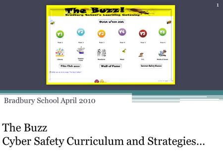 The Buzz Cyber Safety Curriculum and Strategies… Bradbury School April 2010 1.