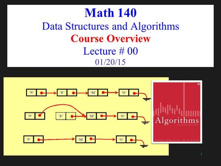 1 Math 140 Data Structures and Algorithms Course Overview Lecture # 00 01/20/15.