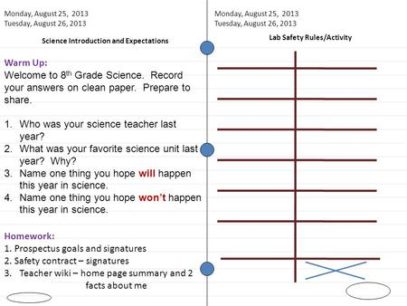 Science Introduction and Expectations Warm Up: Welcome to 8 th Grade Science. Record your answers on clean paper. Prepare to share. 1.Who was your science.