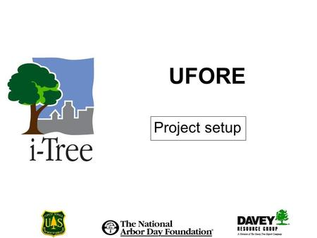 UFORE Project setup. Project setup I The UFORE project process Decide on UFORE analysis Read the Manual Make project decisions Make data collection decisions.