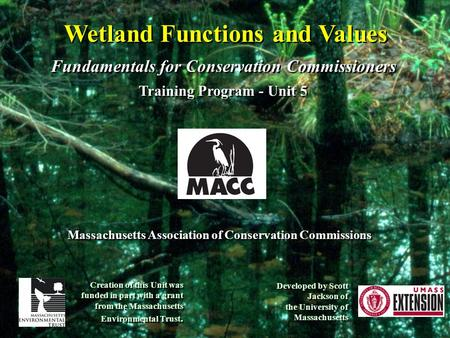 Wetland Functions and Values Fundamentals for Conservation Commissioners Training Program - Unit 5 Fundamentals for Conservation Commissioners Training.