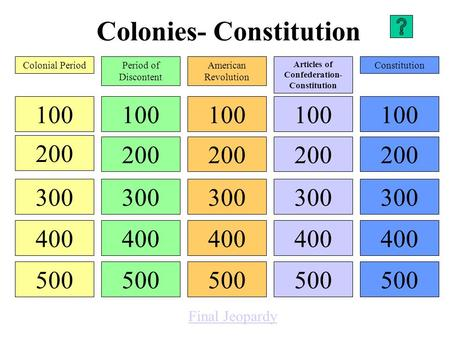 Colonies- Constitution 100 200 300 400 500 100 200 300 400 500 100 200 300 400 500 100 200 300 400 500 100 200 300 400 500 Colonial PeriodPeriod of Discontent.