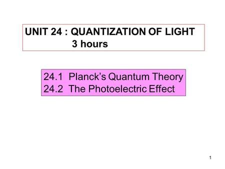 UNIT 24 : QUANTIZATION OF LIGHT