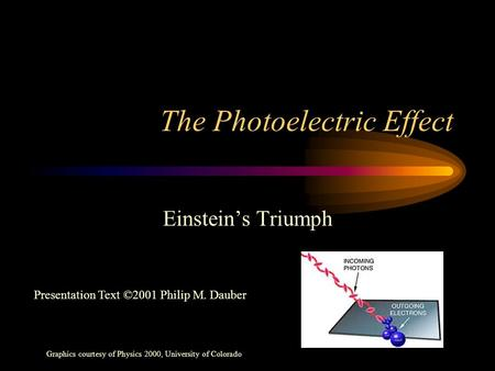 The Photoelectric Effect Einstein's Triumph Graphics courtesy of Physics 2000, University of Colorado Presentation Text ©2001 Philip M. Dauber.