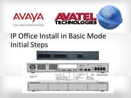 IP Office Install in Basic Mode Initial Steps. ©2009. All rights reserved. Overview of Process 1. Read all documents sent from Avatel concerning install.