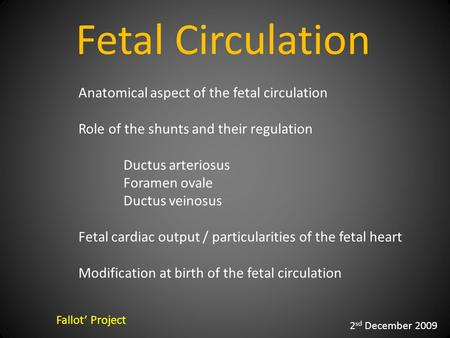 Fetal Circulation Fallot' Project 2 sd December 2009 Anatomical aspect of the fetal circulation Role of the shunts and their regulation Ductus arteriosus.