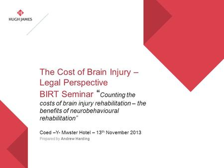 "The Cost of Brain Injury – Legal Perspective BIRT Seminar "" Counting the costs of brain injury rehabilitation – the benefits of neurobehavioural rehabilitation"""