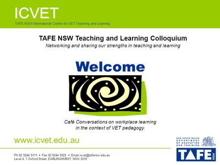TAFE NSW International Centre for VET Teaching and Learning Welcome Café Conversations on workplace learning in the context of VET pedagogy. Ph 02 9244.