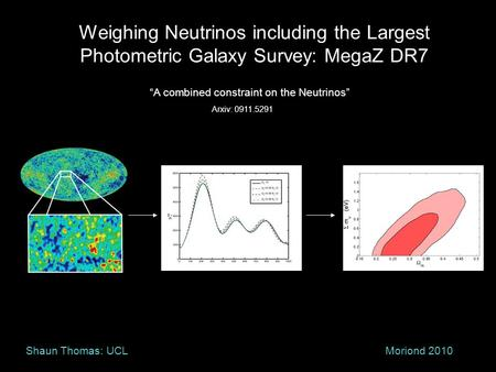 "Weighing Neutrinos including the Largest Photometric Galaxy Survey: MegaZ DR7 Moriond 2010Shaun Thomas: UCL ""A combined constraint on the Neutrinos"" Arxiv:"