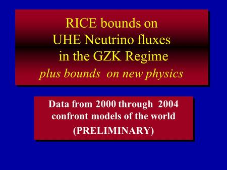 RICE bounds on UHE Neutrino fluxes in the GZK Regime plus bounds on new physics Data from 2000 through 2004 confront models of the world (PRELIMINARY)