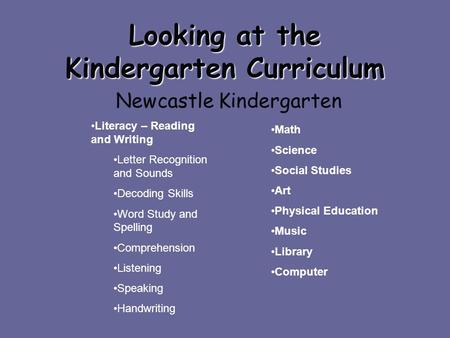 Looking at the Kindergarten Curriculum Newcastle Kindergarten Literacy – Reading and Writing Letter Recognition and Sounds Decoding Skills Word Study and.