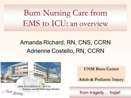 Burn Nursing Care from EMS to ICU: an overview