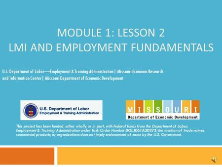 MODULE 1: LESSON 2 LMI AND EMPLOYMENT FUNDAMENTALS This project has been funded, either wholly or in part, with Federal funds from the Department of Labor,