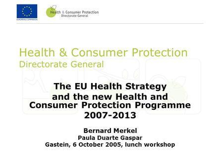 Health & Consumer Protection Directorate General The EU Health Strategy and the new Health and Consumer Protection Programme 2007-2013 Bernard Merkel Paula.