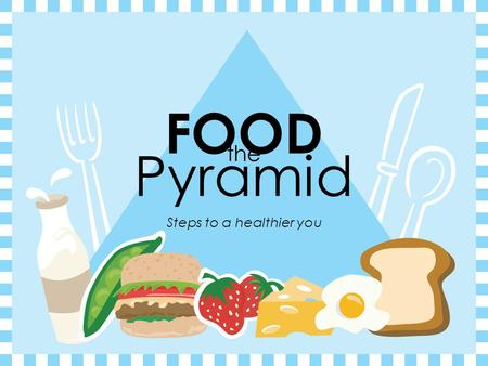 The Steps to a healthier you FOOD Pyramid. Eating Right Every Day  We will be learning about the relationship between good nutrition and health.
