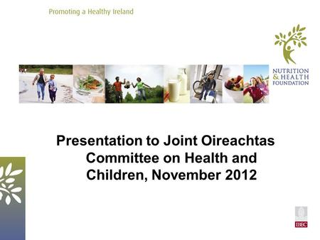 Presentation to Joint Oireachtas Committee on Health and Children, November 2012.