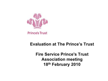 Evaluation at The Prince's Trust Fire Service Prince's Trust Association meeting 18 th February 2010 Subtitle.