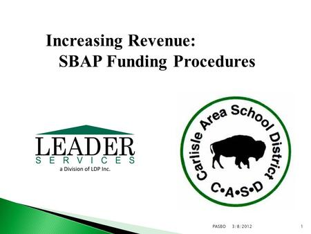 3/8/20121PASBO Increasing Revenue: SBAP Funding Procedures.